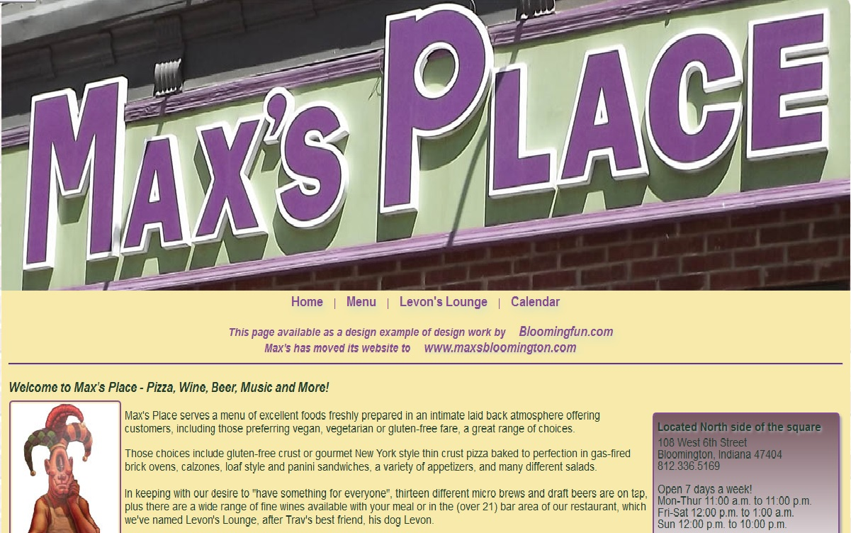 Web Development Portfolio - Maxs Place Bloomington